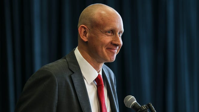 Louisville's Chris Mack said he expects this to be his last job as a coach as he talks during his introduction at the KFC Yum! Center Wednesday afternoon, March 28, 2018.