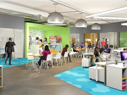 A rendering shows what High Tech Rochester's business accelerator Cooperative will look like once it moves into the sixth-floor of the Sibley building.