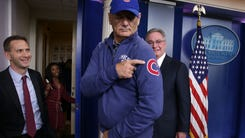 Comedian Bill Murray gestures as he visits the James