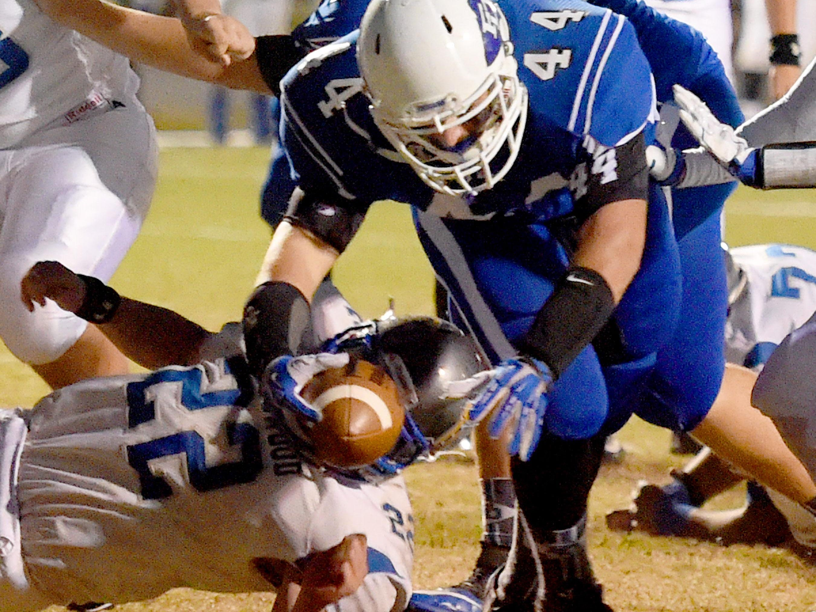 Fort Defiance's Austin Fitzwater makes it into the end zone for a touchdown during their game Friday.