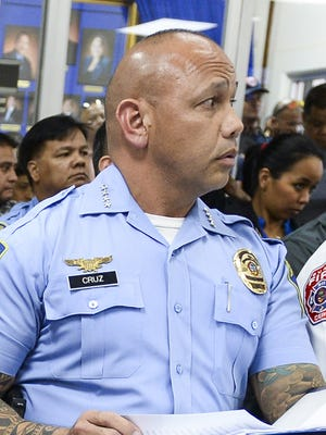 Police Chief Joseph Cruz joined other administration officials during a public hearing at the Legislature Tuesday. He is scheduled to talk to lawmakers Thursday about the status of reserve volunteer officers.