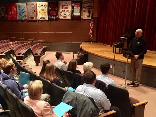 Dennis Frandsen addresses members of the Rush City