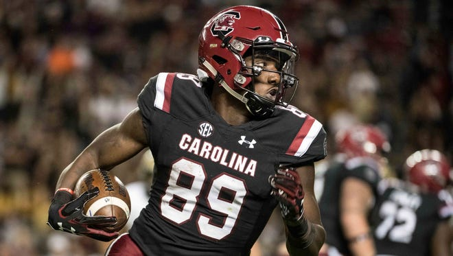South Carolina wide receiver Bryan Edwards (89) runs with the ball during the second half of an NCAA college football game against Wofford on Saturday in Columbia. South Carolina defeated Wofford 31-10. (AP Photo/Sean Rayford)