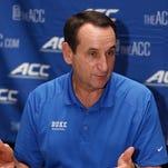 Duke head coach Mike Krzyzewski during ACC basketball media day at The Westin.