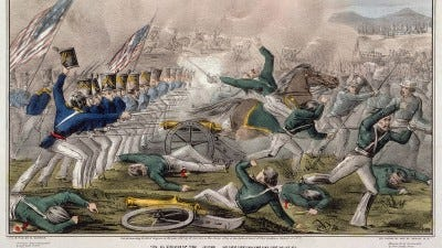 """""""Battle of Churubusco--Fought near the city of Mexico 20th of August 1847 / J. Cameron."""" Hand tinted lithograph. Library of Congress"""