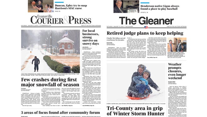 Saturday, Jan. 13 front pages for The Evansville Courier & Press and The Gleaner