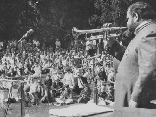 Trumpeter Al Hirt entertains the crowd at the second annual Penrod Society Arts Fair at Oldfields in 1968.