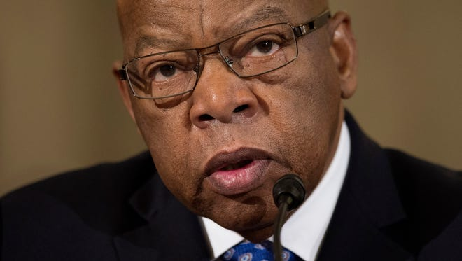 """FILE - In this Jan. 11, 2017 file photo, Rep. John Lewis, D-Ga. testifies on Capitol Hill in Washington at the confirmation hearing for Attorney General-designate, Sen. Jeff Sessions, R-Ala., before the Senate Judiciary Committee. Lewis says he's doesn't consider Donald Trump a """"legitimate president,"""" blaming the Russians for helping the Republican win the White House. (AP Photo/Cliff Owen, File)"""