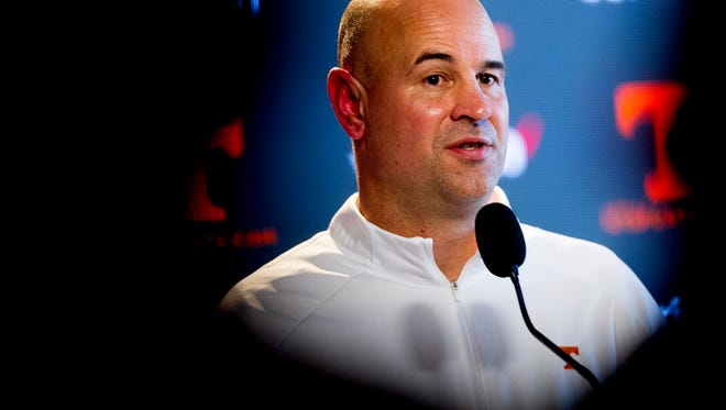 New UT Vols coach Jeremy Pruitt speaks at his first press conference Jan. 10.