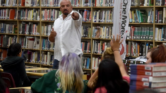 Pat Montoya, president of the Not On More substance abuse prevention group, talks about heroin abuse to summer school students at Simi Valley High School.