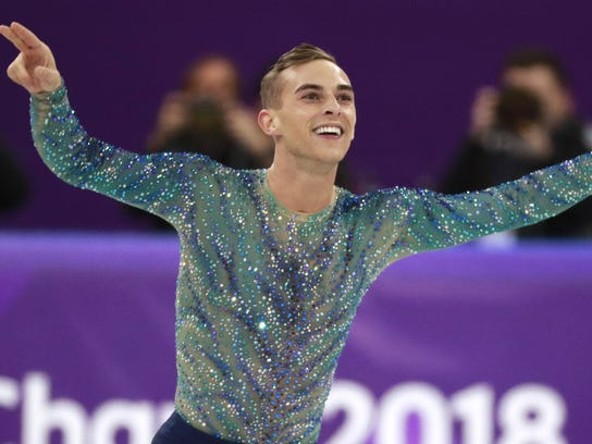 Adam Rippon of the USA reacts after competing in the Free Skating of the Figure Skating Men Single competition at the Gangneung Ice Arena during the PyeongChang 2018 Olympic Games, South Korea, 17 February 2018.