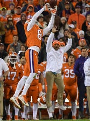 Clemson defensive back A.J. Terrell (8) nearly intercepts a ball during the fourth quarter in Memorial Stadium at Clemson on Saturday.