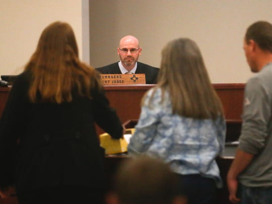 Judge Bradford Dalley listens to the family of Daniel Boone on Thursday during Tiki Marez's sentencing at the 11th Judicial District Court in Aztec. Marez was convicted of second-degree murder in Boone's 2014 death.