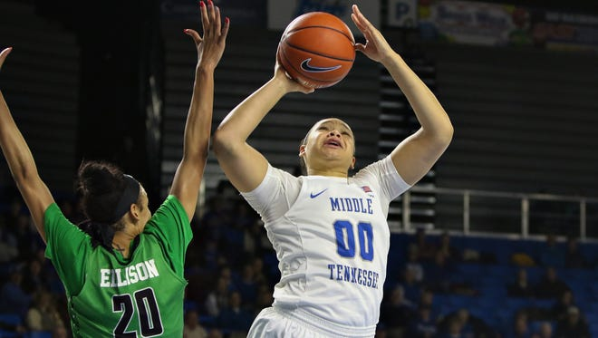 MTSU's Alex Johnson (00) scored 19 points in the second half against North Texas to help the Lady Raiders capture their fourth straight win on Saturday.