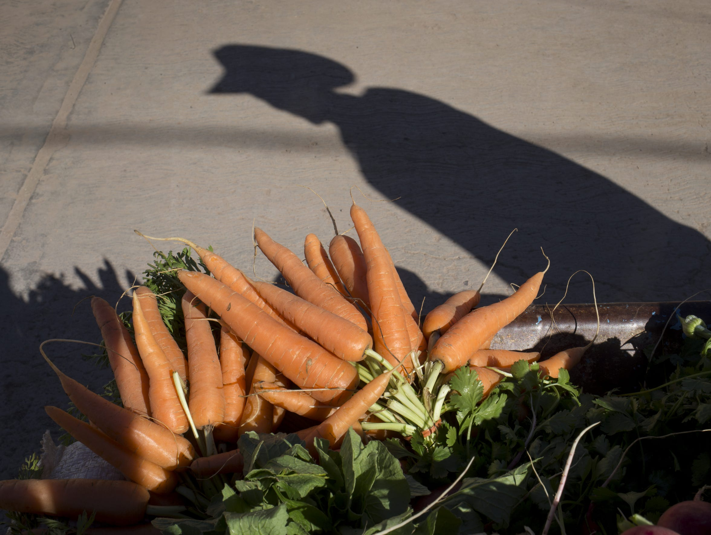 A street vendor sells vegetables in Sahuaripa, Sonora,