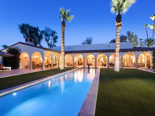 The rear view of this home in Palm Springs' Movie Colony
