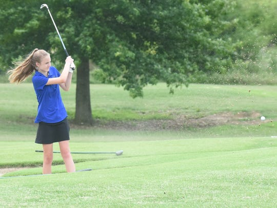 Kennedy Wyatt hits out of a bunker Thursday during