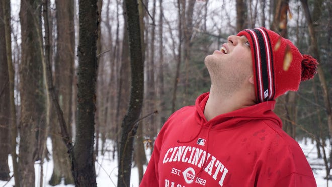 Reds catcher Devin Mesoraco inspects trees on his property that are used to manufacture his custom-made bats.
