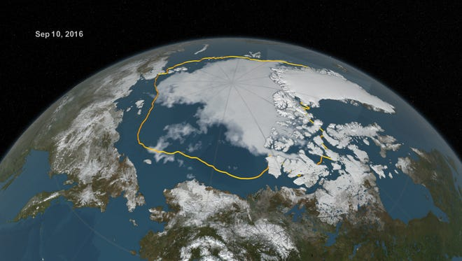 The 2016 Arctic sea ice summertime minimum, reached on Sept. 10, is 911,000 square miles below the 1981-2010 average minimum sea ice extent, shown here as a gold line.