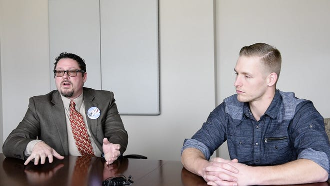 Aaron Aylward (right), chair of the South Dakota libertarian party,  and George Hendrickson (left), Libertarian candidate for the U.S. House, talk about the struggles of getting your name on the ballot as member of a smaller political party.