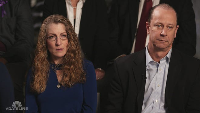 "Tim Piazza's parents, Evelyn Piazza, left, and Jim Piazza during the filming of the NBC ""Dateline"" special on college fraternity hazing."