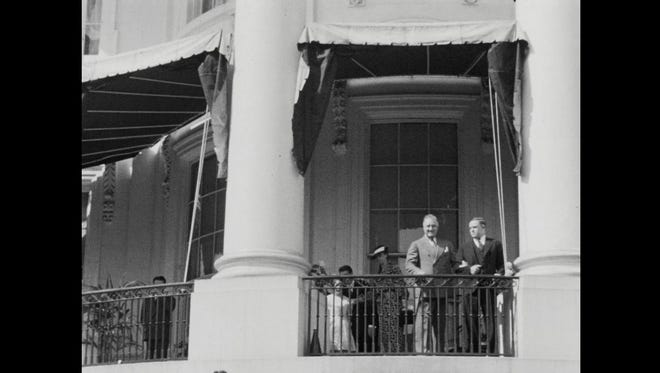 This frame is from a from a film clip showing the rare occasion of President Franklin Roosevelt walking in 1935 at the White House in Washington, D.C. The film was shot by Fred Hill, grandfather of Reno attorney Richard Hill, who has now donated the rare footage to the FDR Library in New York State.