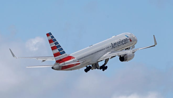 """FILE - In this Friday, June 3, 2016 file photo, an American Airlines passenger jet takes off from Miami International Airport in Miami. American and United have started selling cheaper """"basic economy"""" fares as they battle discount airlines for the most budget-conscious travelers, announced Tuesday, Feb. 21, 2017.   (AP Photo/Alan Diaz) ORG XMIT: NYDK217"""