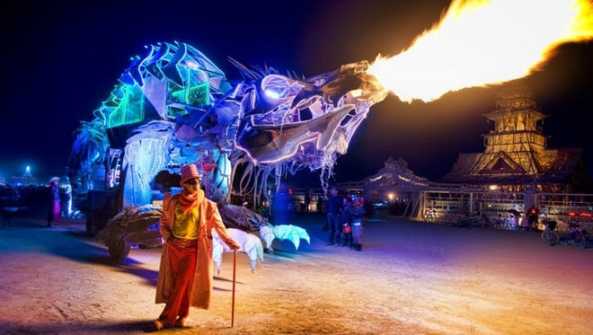 "Hong Kong LED artist Teddy Lo's ""Gon Kirin,"" an 8-ton, 69-foot-long fire-breathing dragon will be among the featured installations at this year's Chalk the Block public arts festival taking place from Friday through Sunday in Downtown."