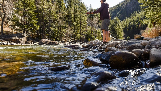 Clint Ashton fishes the Poudre River on March 21, 2015.