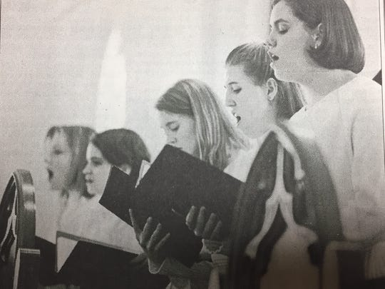 Members of the St. Ann Catholic Church youth choir performed in the fifth annual Choir Fest in February 1999. From left are Rachel Webber, Karrie Thomas, Starr Davis, Becky Shrote and Jennifer Alvey. An offering was taken at the end to benefit the Union County Habitat for Humanity.