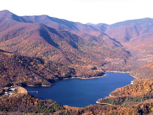 An aerial view of Asheville's North Fork Reservoir,