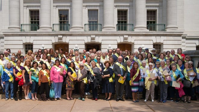 Photo of Aging Advocacy Day participants from across Wisconsin. The Sheboygan group is in the front row, on the right.