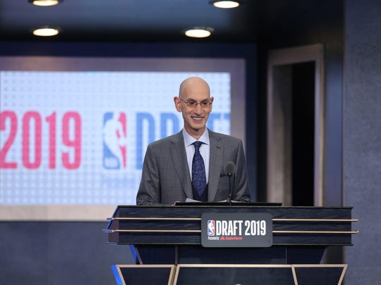 Jun 20, 2019; Brooklyn, NY, USA; NBA commissioner Adam Silver talks prior to introducing the first pick of the first round of the 2019 NBA Draft at Barclays Center. Mandatory Credit: Brad Penner-USA TODAY Sports
