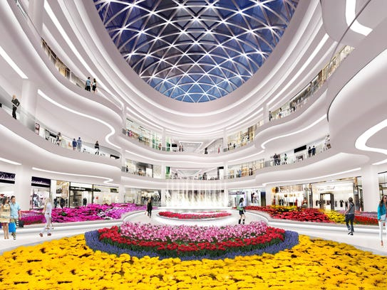 A rendering of the Flower Court inside American Dream