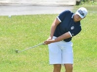 Chambersburg's Karsen Rush, the medalist with a 75, hits an approach shot during the Mid Penn Colonial Division match on Thursday.