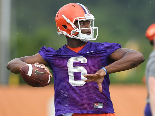 Clemson quarterback Zerrick Cooper (6) during the Tigers first practice of the season on Tuesday, August 2, 2016.