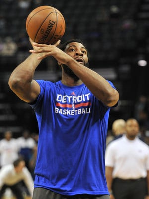 Detroit Pistons center Andre Drummond warms up before a game against the Memphis Grizzlies on April 9, 2017.