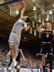 Duke's Grayson Allen throws down a dunk against Notre