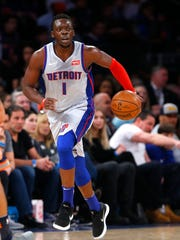 Pistons guard Reggie Jackson dribbles the ball against the Knicks during the first half at Madison Square Garden on March 31, 2018.