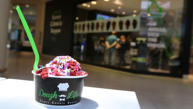 Red velvet cookie dough is one of many flavors available at Dough Life, which will open this month at Monmouth Mall and Ocean County Mall. Pictured is the Freehold Raceway Mall location.