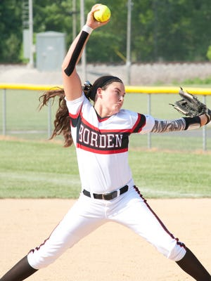 Borden Lady Braves starting pitcher Paige Schindler hurls the ball towards home plate.07 May 2015