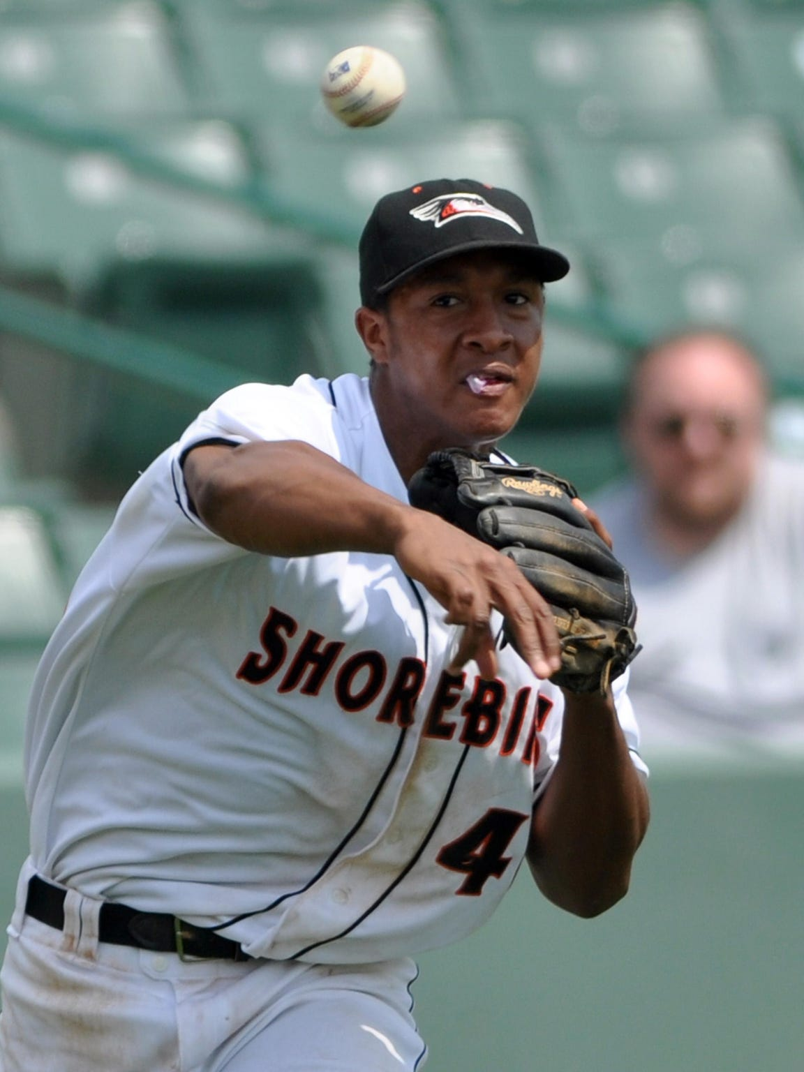 Delmarva's Jonathan Schoop throws to first base during