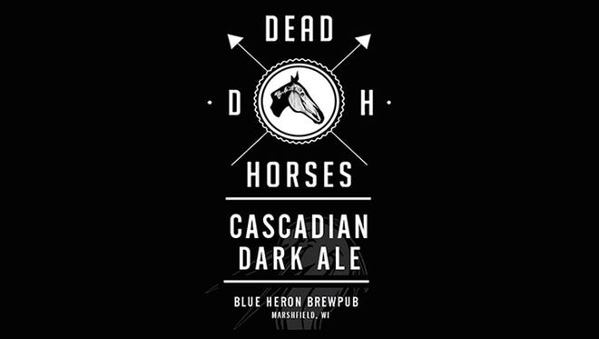 The label for Blue Heron BrewPub's Dead Horses Cascadian Dark Ale beer.