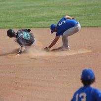 Virgin Valley's Logan Felix avoids the tag to steal second base against Moapa Valley earlier this month.