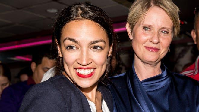 Alexandria Ocasio-Cortez and New York gubenatorial candidate Cynthia Nixon on June 26, 2018 in New York City.
