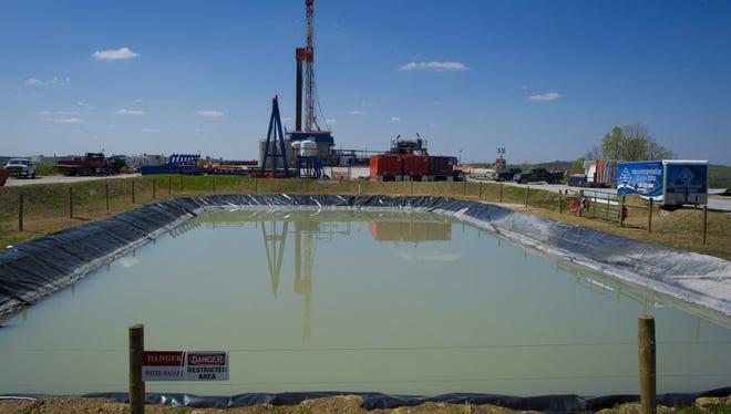 Gas drilling rig outside of Waynesburg, Pa.