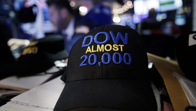 A hat made by trader Peter Tuchman is seen on the floor of the New York Stock Exchange.