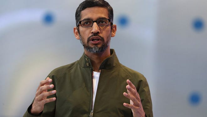 Google CEO Sundar Pichai delivers the keynote address at the Google I/O 2018 Conference at Shoreline Amphitheater on May 8, 2018 in Mountain View, Calif.