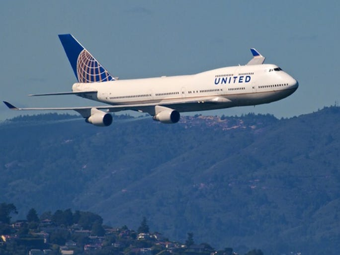 We asked readers to share their photos of the legendary Boeing 747. Here are some of our favorites. Pictured: United Airlines 747-400 over San Francisco Bay during Fleet Week Air Show 2012.