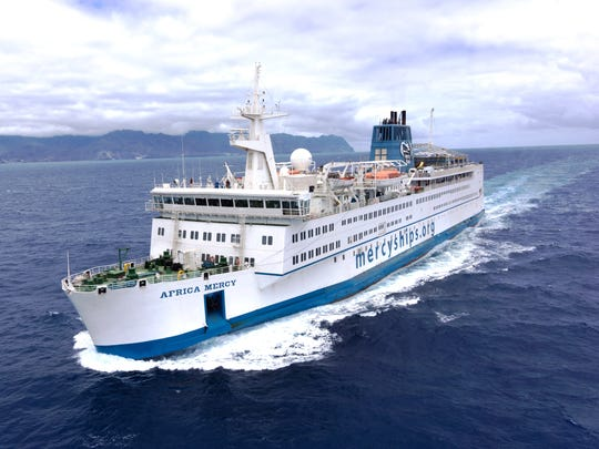 The Africa Mercy is the world's largest private hospital ship, staffed by 400 Mercy Ships volunteers from 40 nations